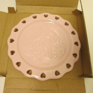 Longaberger Pottery Sweetest Heart Candle Plate